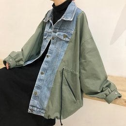 02a1ef5180d11 SuperAen Denim Stitching Jacket Women Wild Fashion Casual Primavera y Otoño  Nueva Chaqueta Mujer Estilo Coreano Ropa de Mujer mujeres coreanas de la ...