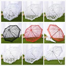 Guarda-sol de algodão on-line-Algodão antigo rendas guarda-chuva de noiva guarda-chuva de renda artesanal bordado guarda sol guarda-chuva de casamento para estúdio de desempenho de palco foto adereços