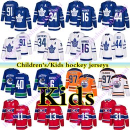Kinderhockey trikot online-Kinder Hockey-Jersey-Toronto Maple Leafs Montreal Canadiens Vancouver Canucks Edmonton Oilers 97 Connor McDavid Kinder Hockey Jerseys