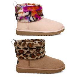 2019 rote offene zehe stiletto stiefel 2019 WGG Fluff Mini gesteppte Leopard gesteppte Motlee Winterstiefel Frauen 54040 W-Mädchen-Dame AMP Multicolor Schnee warme Schuhe