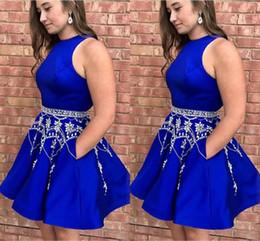 2019 blaue paillettengürtel Royal Blue Short Ballkleider 2019 Perlen Gürtel Kristall Perlen Pailletten Juwel Reißverschluss Satin Heimkehr Kleid Günstige Party Girls Graduation Dress günstig blaue paillettengürtel