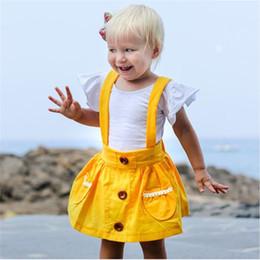 Verde vestito generale online-2019 Vestito per neonate primavera estate Solido rosa giallo verde Tuta per bambini Vestito da spiaggia per vacanze Cinturino neonato per bambini