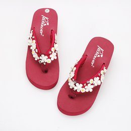 diy flip flops Coupons - New Diy Handmade Pu leather Sun Flowers 6cm Slippers Women Fashion Platform High Heel Beach Flip Flops Sandals Terlik Mujer