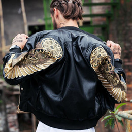 Куртки с крыльями онлайн-Mens leather jackets 2019 Bomber faux Leather Jackets Red Black PU Outwear Gold Wings Embroidery Punk motorcycle Slim Coat w91