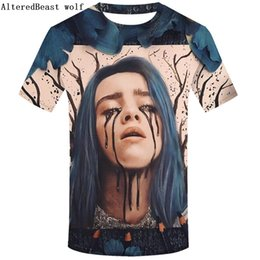 Hommes double cou t shirts en Ligne-Billie Eilish T-shirt 3D Homme T-shirt Imprimé T-shirt Eté Tee Funny Top Casual Manches Courtes Marque Camiseta O-neck tee shirt