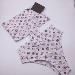 Costumes de style vintage en Ligne-BL13 nouveau style dame trois pièces maillot de bain femmes taille plus maillot de bain rétro vintage maillots de bain vêtements de plage lettre imprimé maillot de bain porter S-XL