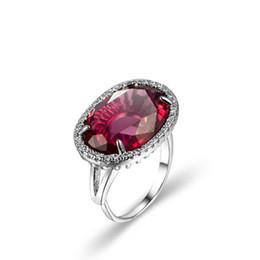 6 шт. / Лот свадебные украшения овальный красный гранат драгоценные камни серебряные женщины изменяемого размера кольца от