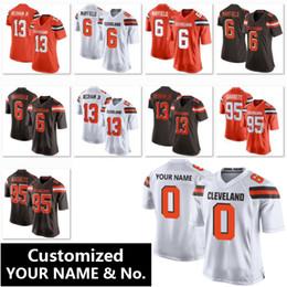 Costumes de criança on-line-Dropship Personalizado Cleveland Brown Jersey nome personalizado número costumes homens mulheres criança Baker Mayfield uniforme de futebol S-3XL