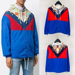 block printed Coupons - Man Chveron Striped Color Blocked Colorful Nylon Fashion Jacket Lightweight Trim Fit Wear Printed Floral Windbreaker