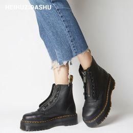 mujeres de la oficina visten el sexo Rebajas botas de tobillo diseño litchi botas de las mujeres gruesa plataforma de cremallera frontal mujeres 2019 Moda otoño / invierno con cordones