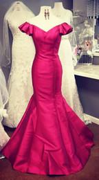 caldo foto indietro backless Sconti Hot Pink Vintage Mermaid Evening Prom Dress 2019 Long Real Photo Al largo della spalla con maniche corte Backless Abiti formali Abiti da spettacolo