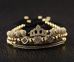 2019 bracciale in oro zircone 2019 New Classic intrecciato a mano braccialetto oro Hip Hop uomini pavimentano cubic zircone corona romano numeri braccialetto gioielli di lusso sconti bracciale in oro zircone