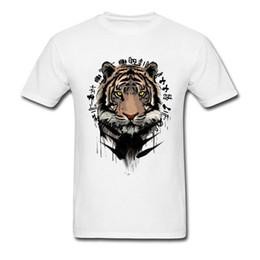 Tinta blanca china online-Pintura de tinta Tigre Estampado Hombres Camiseta Blanca Diseño Único Adulto Estilo Chino Camiseta de Manga Corta de Algodón Ropa XXXL