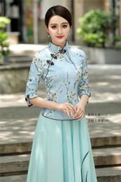 2019 vêtements fille chinoise Cheongsam Shirt Vêtements Chinois Traditionnels Chinois Filles Brodé Top Chemise à Col Haut en Lin de Style Chinois vêtements fille chinoise pas cher
