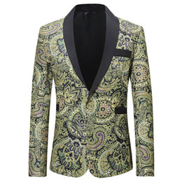blazers patterns Coupons - Men Fashion Blazer High Quality Printing 2019 Male New Pattern Business Affairs Wedding Stage Long Sleeve Suit Jackets Slim Fit