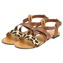 Sandalias planas tipo online-xiniu de las mujeres de la hebilla Leopard-Type sandalias de punta abierta zapatos planos casuales Beach Walk zapatos de las señoras del gladiador sandalia # 0426