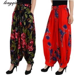 sezioni di fiori Sconti Large Size Cotton National Wind Flower Pantaloni lunghi pantaloni jeans larghi dritto collant madre vestito Bloomers femminile sezione sottile Y19062901