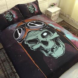king size skull bedding Sconti Biancheria da letto 3D con teschiera Zuccheriera Copripiumino Copripiumino Copripiumino Set Biancheria da letto Queen Size Matrimoniale Singola Drop shipping