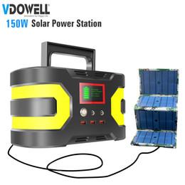 cargadores hoverboard Rebajas Fuente de alimentación solar de 150W 220 / 110V con batería de litio con salida DC / AC / USB para el hogar, exterior, camping, viaje, pesca + panel solar de 60W