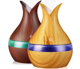 Сильная ночь онлайн-Hot 300ml USB Air humidifier aroma oil Diffuser strong mist maker wood grain with 7 colors LED night light for home office