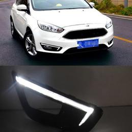 Foco diurno de luces led online-1 par DRL Para Ford Focus 4 2015 2016 Luces de circulación diurna Cabezal de niebla Cubierta de la lámpara con intermitente amarillo estilo de automóvil