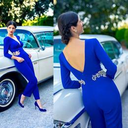 vestidos de fiesta mujer dubai Rebajas Dubai árabe elegante mono azul vestidos de baile de manga larga sexy espalda abierta fiesta de noche vestidos de encaje apliques mujeres desgaste formal 2019