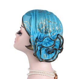 mulheres usando gorro de cabeça Desconto NIBESSER New Mulheres Flower Elastic Headwrap Chefe Wear Hat Turban Cap Envoltório principal Acessórios de cabelo Ladies Scarf Cap muçulmana