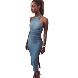 Elástico vestido bandage malha on-line-Mulheres camisola dress 2019 primavera outono longo sexy bodycon bandage vestidos elástico skinny malha dress mulheres vestidos