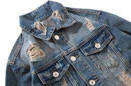 Chaqueta vaquera con estampado de kanye west online-Kanye West chaqueta agujero de la manera de la chaqueta de vaquero y América del hip-hop de la calle floja de gran tamaño original de flecha de impresión denim jacket580a #