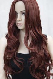 2019 lunghe boccioline di parrucche auburn LL 2782 Nuovo sexy no bangs rosso auburn lungo lato ondulato della pelle parte superiore parrucca donna sintetica lunghe boccioline di parrucche auburn economici