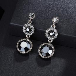 2019 элегантные синие украшения для женщин Double Fair  Vintage Elegant Blue Cubic Zirconia White Gold Color Drop Earrings For Women Gift Fashion Jewelry KAE300 скидка элегантные синие украшения для женщин