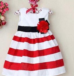 vestido de rayas rojas blancas para niños Rebajas Niño de los bebés para niños sin mangas Vestidos arco del vestido del vestido ocasional de la manera del verano de la muchacha Vestido de tirantes rayada blanca roja