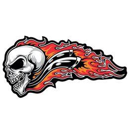 Grandes parches de motocicleta online-Skull Flame Parche Grande Etiqueta Motocicleta Vinilo Etiqueta Engomada Del Coche Accesorios Del Ordenador Portátil Etiqueta Decorativa