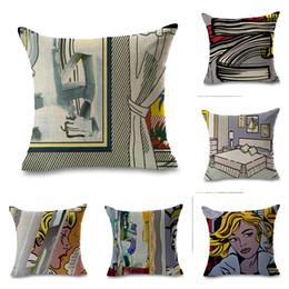 Quarto pop art on-line-Roy Lichtenstein Pop Art Comics Cortina Quarto das meninas Pillow Euro Tampa decorativa Massager decorativa Almofadas Home Decor presente