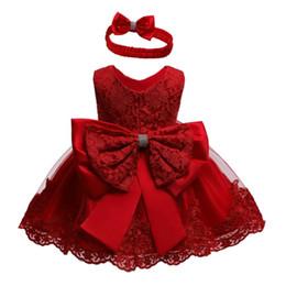 vestidos de bebé rojo recién nacido Rebajas Vestidos de novia de cumpleaños Navidad vestido rojo 0-24 M niño recién nacido de los bebés del vestido de partido del tutú del cordón del arco de la princesa