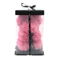 2019 blütenstiel draht weiß New 25cm Teddy Rose Blumen-Bär-Geschenk-Kasten-Hochzeit Weihnachtsdekoration Valentinstag Geben Sie eine Freundin Gif