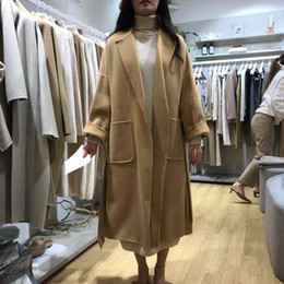 coreano design casacos de inverno Desconto Inverno coreano Mulheres Cashmere casaco de lã dupla face com Belt elegante de luxo artesanal grandes bolsos Longo Projeto Coats