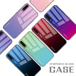 huawei mate glass Rebajas Gradiente de la moda caja del teléfono de cristal templado para Huawei P30 Pro P20 Mate 20 Pro Honor 8x 9 10 Lite cubierta de la caja a prueba de golpes