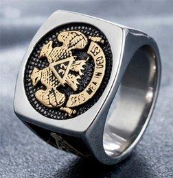 кольцо из желтого золота 14к Скидка Персонализированные ретро масонский символ Двойной Орел г. № 32 мужские титановые кольца партии ювелирных изделий размер 9 10 11