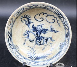 2019 pipas de fumar antiguas Nuevas antigüedades porcelana antigua azul y blanca Jingdezhen porcelana antigua cerámica Da Ming Xuande placa azul y blanca
