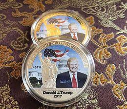 Moda 2017 American 45th President Donald Trump Moneda conmemorativa Estados Unidos Avatar Monedas de oro Insignia de plata Metal Craft Collection DHL desde fabricantes