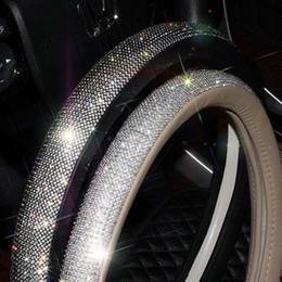 couro interior para automóveis Desconto Cristal Rhinestone Car Couro Volante Cobre Cap Cobertura de Volante-Roda Auto Acessórios Interiores Do Carro Para Mulheres Meninas