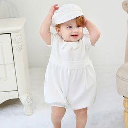 Vestido de batismo de bebê vintage on-line-Bebê recém-nascido 0-24 M Meninas Vestido Set Vestido de Festa Sólida Voltar Botão Batismo Vestido de Batismo Do Vintage Vestido de Roupas de Bebê com Chapéu Branco