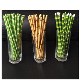 Tés de burbujas online-Pajitas de papel 19.5cm Desechable Bubble Tea Thick Bamboo Juice Beber paja 25pcs / lot Eco-Friendly Milk Straw Birthday Wedding Party Gifts