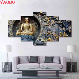 2019 puntada de diamante religiosa Venta al por mayor Diamante Pintura Cristal Religioso Buda kit de punto de cruz 5 pcs 3D Full Diamond Picture Mosaico pintura diamante bordado puntada de diamante religiosa baratos