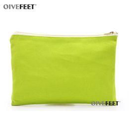 2019 bolsa de zíper de tela plana OIVEFEET, Plain 16 onças Grama Verde Algodão Lona Cosméticos Saco de Viagem de Higiene Pessoal de Maquiagem Bolsa Com Zíper de Ouro, 8 cores disponíveis bolsa de zíper de tela plana barato