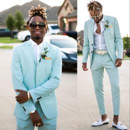 il vestito di prom danno colore beige Sconti Smoking color verde menta per matrimonio 2019 estate slim fit bavero bavero sposi abiti da uomo abito da ballo festa di laurea due pezzi (giacca + pantaloni)