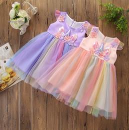 fille de fleur robes tulle court mini Promotion Vêtements de bébé filles robe 2019 été bébé filles manches courtes perle fleur tulle licorne robe princesse fête d'anniversaire enfant vêtements de filles