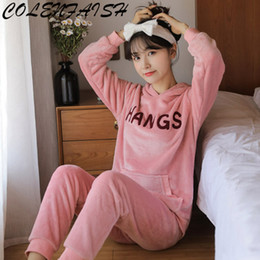 1b5c343ce1 Winter Women Hooded Pyjamas Sets Thick Warm Coral Velvet Suit Flannel Long  Sleeve Female Letter Leisure Pants Sleepwear