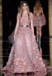 New Couture Zuhair Murad Evening Dresses 3D Floral Appliques Dusty Blush Prom Dresses Plus Size Latest Party Gown Design